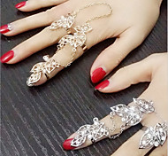 1Pcs Fashion Fan Exaggerated Personality Set Auger Leaves The New Suit Ring