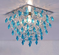 Blue Crystal Recessed Lighting Square Crystal Ceiling Lights for Balcony Hallway