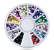 1pcs  Nail Rhinestones 1.5mm Glitter Acrylic Flatback Nail Tip Gems Wheel