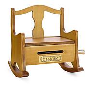 Creative Craft Ornaments Retro Gramophone Wooden Rocking Chair/Music Box