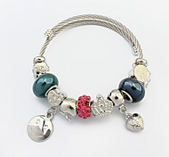 Fashion Happy Smiling Face Heart Charm Bracelet Gift Jewelry Gift Silver1pc