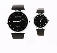 Personalized Gift New Style Couple's Black Case PU  LeatherBand Quartz Analog Wrist Engraved Watch
