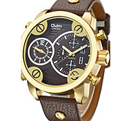 Men's Wrist watch Quartz Dual Time Zones Genuine Leather Band Cool Casual Black Brown Brand