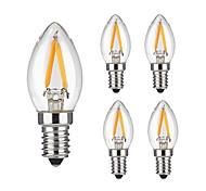 2W E14 Ampoules à Filament LED 2 COB 200 lm Blanc Chaud Gradable / Décorative AC 100-240 V 5 pièces