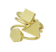 Gold Color Geometric Metal Band Rings Set