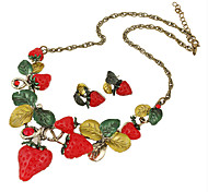Jewelry 1 Necklace 1 Pair of Earrings Wedding Party Daily Casual 1set Women Red Wedding Gifts