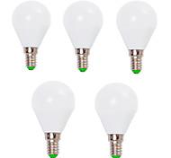 7W E14 / E26/E27 Круглые LED лампы G45 12 SMD 2835 800 lm Тёплый белый / Холодный белый Декоративная V 5 шт.