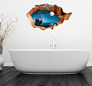3d наклейки для стен наклейки на стены, спокойное море Ванная комната наклейки настенной росписи декора стены PVC