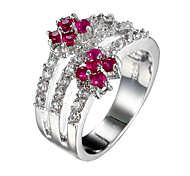 Brand Design Fashion Ruby-red Zircon Women Jewelry Rings Romantic Female with Romantic gift Cross Ring