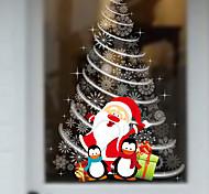 новый рождественские витрины стеклянные декоративные наклейки стены Санта-Клауса Рождественская елка 60 * 90см