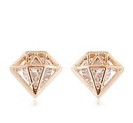 Fashion Sweet Diamond Shape Stud Earrings Jewelry Women Casual Alloy / Zircon 1 pair