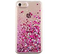 Para Liquido Flutuante Capinha Capa Traseira Capinha Coração Rígida PC para Apple iPhone 7 Plus iPhone 7 iPhone 6s Plus/6 Plus iPhone 6s/6