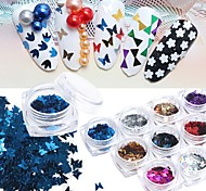 12pcs/set  Metallic Butterfly Sequins Small Size