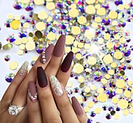1400pcs/pack 3D Gold Flatback Nail Art Rhinestones AB Color Decorations Crystal Glitter Stones Decorations Nail Accessories
