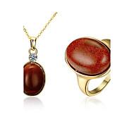 Бижутерия 1 ожерелье Кольца Для вечеринок Повседневные Медь Позолота 1 комплект Женский Золотой Свадебные подарки