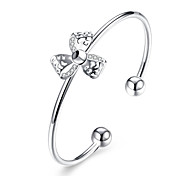 Women's Cuff Bracelet Copper Silver Plated Simulated Diamond Fashion Flower Silver Jewelry 1pc