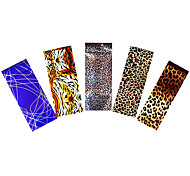 5pcs Nail Art Foil Holographic Colored Sticker Transfer Leopard Tiger Print Decal for Women DIY Care Tool