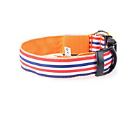 Dog Collar Adjustable/Retractable Stripe Multicolor Nylon