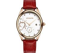 Women's Fashion Watch Quartz Imitation Diamond Genuine Leather Band Casual White Red Pink Purple Brand