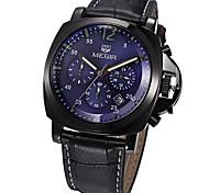 Men New Megi Sports Multifunctional Waterproof Watch Black Leather Watch Strap Watch