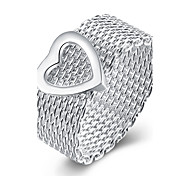 Mesh Heart Ring 925 Jewelry Silver Plated RingHigh Quality Fashion Jewelry Nickle freeAntiallergic R043