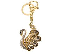 Cute animal models of metal diamond diamond Swan Keychain