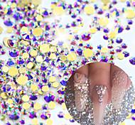 1440pcs New Gold Baser AB Rhinestones Crystal 3d Nail Rhinestones DIY Flatback Diamond Sequin Nail Sparkly Glitter