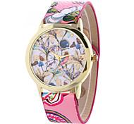 Women's Fashion Watch Quartz Leather Flower Christmas Gift Watch