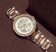 Women's Fashion Watch Quartz Imitation Diamond Alloy Band Rose Gold