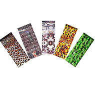 5pcs Holographic Foil Nail Art Colored Sticker Transfer Camouflage Leopard Print Image Nail Care Manicures Tool