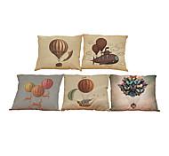 5 PC Lino Natural/Orgánico Cobertor de Cojín Funda de almohada,Sólido Con TexturasReforzar Euro Estilo playero Casual Retro