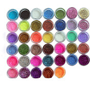 45pcs Metal Shiny Fine Glitter Nail Art Kit Acrylic UV Powder Polish Tips Set