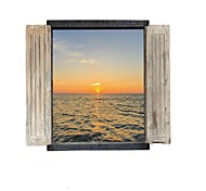 Scenery Sea Wall Stickers Blue Sea Water Sunset Decals Home Decor for Family