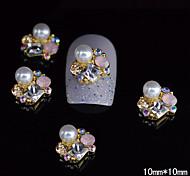 10шт золото уникальный 3d сплав ногтей стразами поделки ногтей украшения