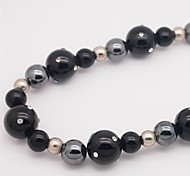 Necklace Onyx Rhinestone Choker Necklaces Jewelry Casual Circle Round Circular Design Magnetic Therapy Agate Rhinestone Women 1pc Gift