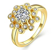 Ringe Kubikzirkonia Alltag Normal Schmuck Gold Damen Ring 1 Stück,7 8 Goldgelb Rotgold