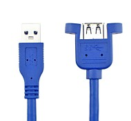 200cm USB A 3.0 Male to Female Extension Cable Panel Mount Screw Lock Connector Adapter Cord Blue