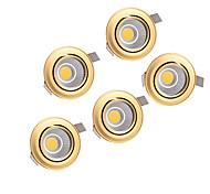 5pcs 5W cob 220-240V ouro levou para baixo luz recesso teto