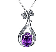 Women's Pendants Sterling Silver Simulated Diamond Basic Design Personalized Purple Jewelry Daily Casual 1pc