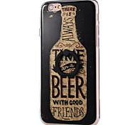 For iPhone 7 Plus 7 6s 6 Plus Case Cover Beer Bottle Pattern Acrylic Back Cover and TPU Frame Combina Flash Powder Ring Bracket Mobile Phone Case