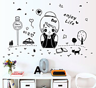 Korean Girl Fashion Enjoy Life Wall Stickers DIY Girl Bedroom Wall Decals Home And Garden