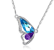 Women's Pendant Necklaces Crystal Animal Shape Wings / Feather Butterfly Crystal Rhinestone Fashion ElegantPurple Pink Light Blue Light