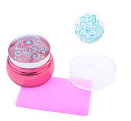 1шт искусства ногтя новые красные металлические детали прозрачный печать печать розовый скребок