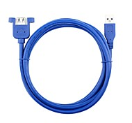 150cm USB A 3.0 Male to Female Extension Cable Panel Mount Screw Lock Connector Adapter Cord Blue