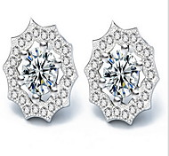 Stud Earrings Jewelry Sterling Silver Rhinestone Flower Sunflower White Jewelry Party Daily 1 pair