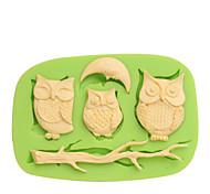Cadeaux promotionnels silicone 3d gâteau moules décoratifs chouettes couleur aléatoire aléatoire