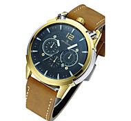 Men's Fashion Watch Quartz / Leather Band Skull Brown Brown/Gold