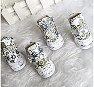 Perros Zapatos y Botas Adorable Invierno Flor Blanco Cuero PU