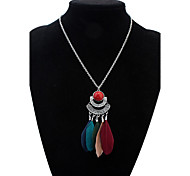 Women's Pendant Necklaces Resin Feather Alloy Tassels Euramerican Fashion Black Dark Blue Deep Green Cherry Red Rainbow Jewelry Casual 1pc