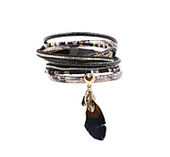 Fashion Womne Trendy Multi Rows Rhinestone Set Printed Leather Bracelet